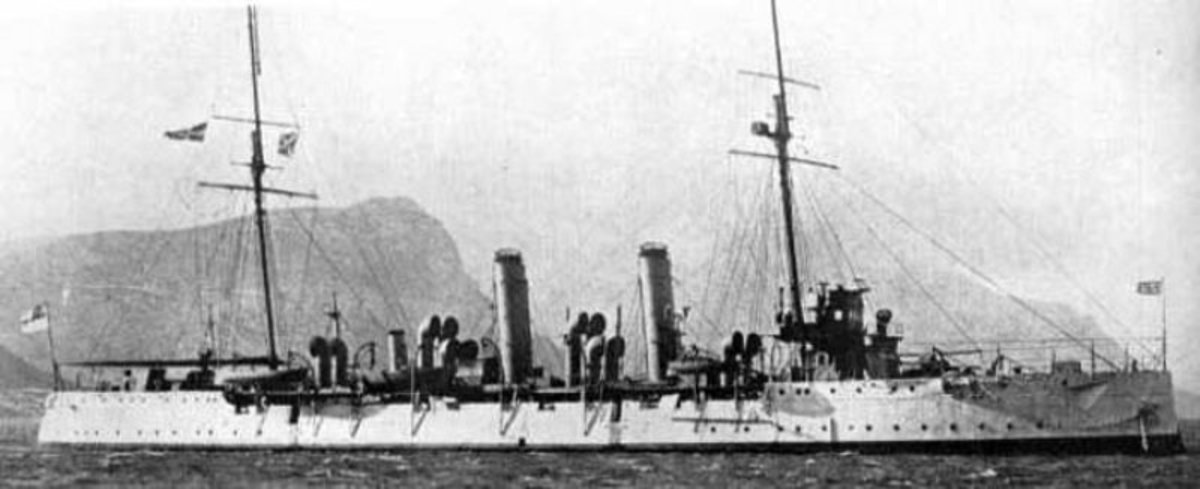 HMS Pegasus a Pelorus Class protected cruiser was the first victim of the Konigsberg