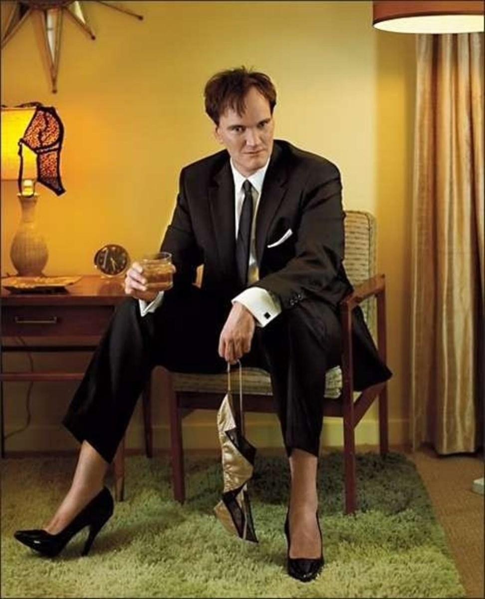 Famous movie director Quentin Tarantino wearing high heels.