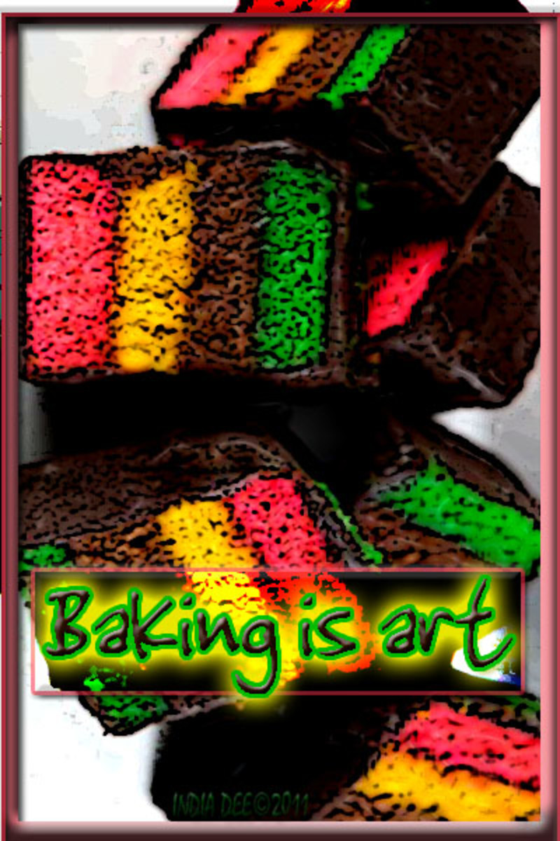 "Bright ""Baking is art"" graphic"