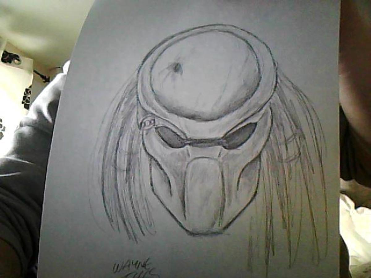 Predator mask sketch by Wayne Tully.
