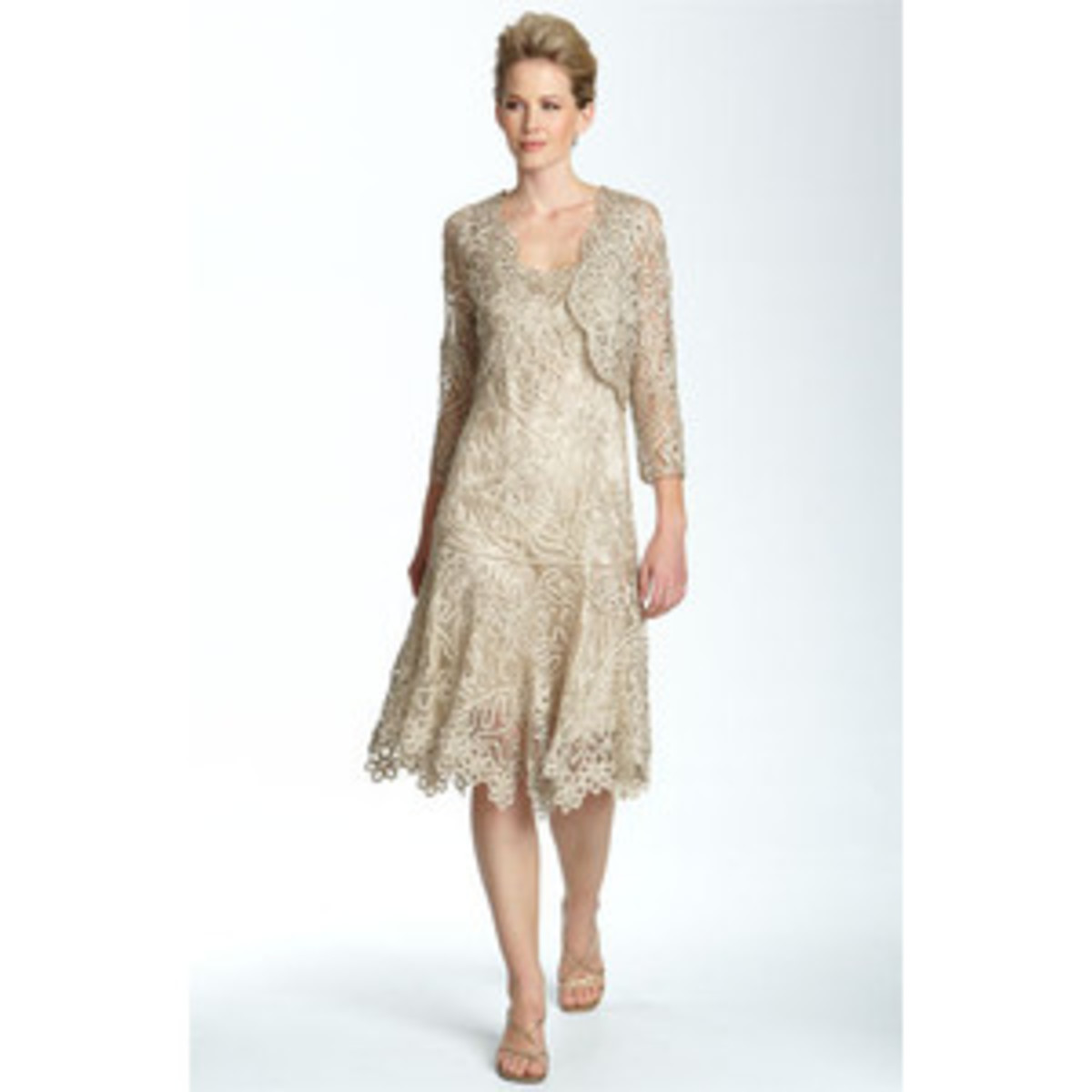 Soulmates Beaded Crochet Silk Dress & Bolero