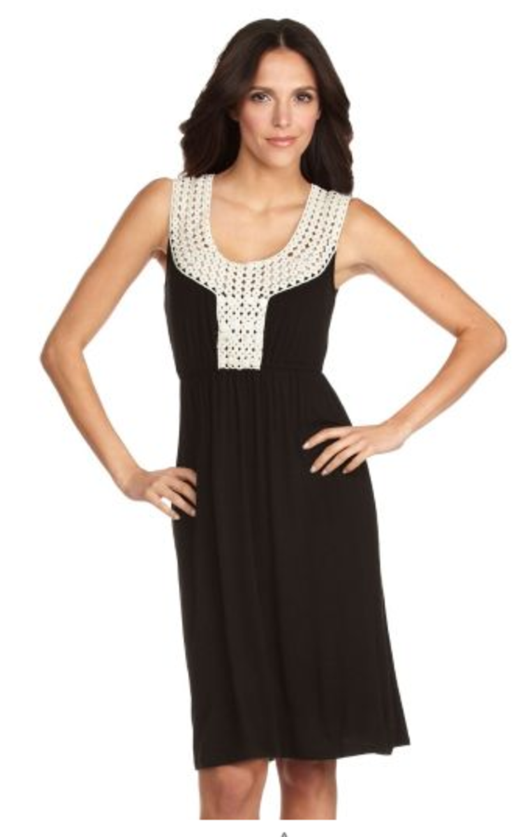 Sangria Sleeveless Dresses with Crochet Embellishment