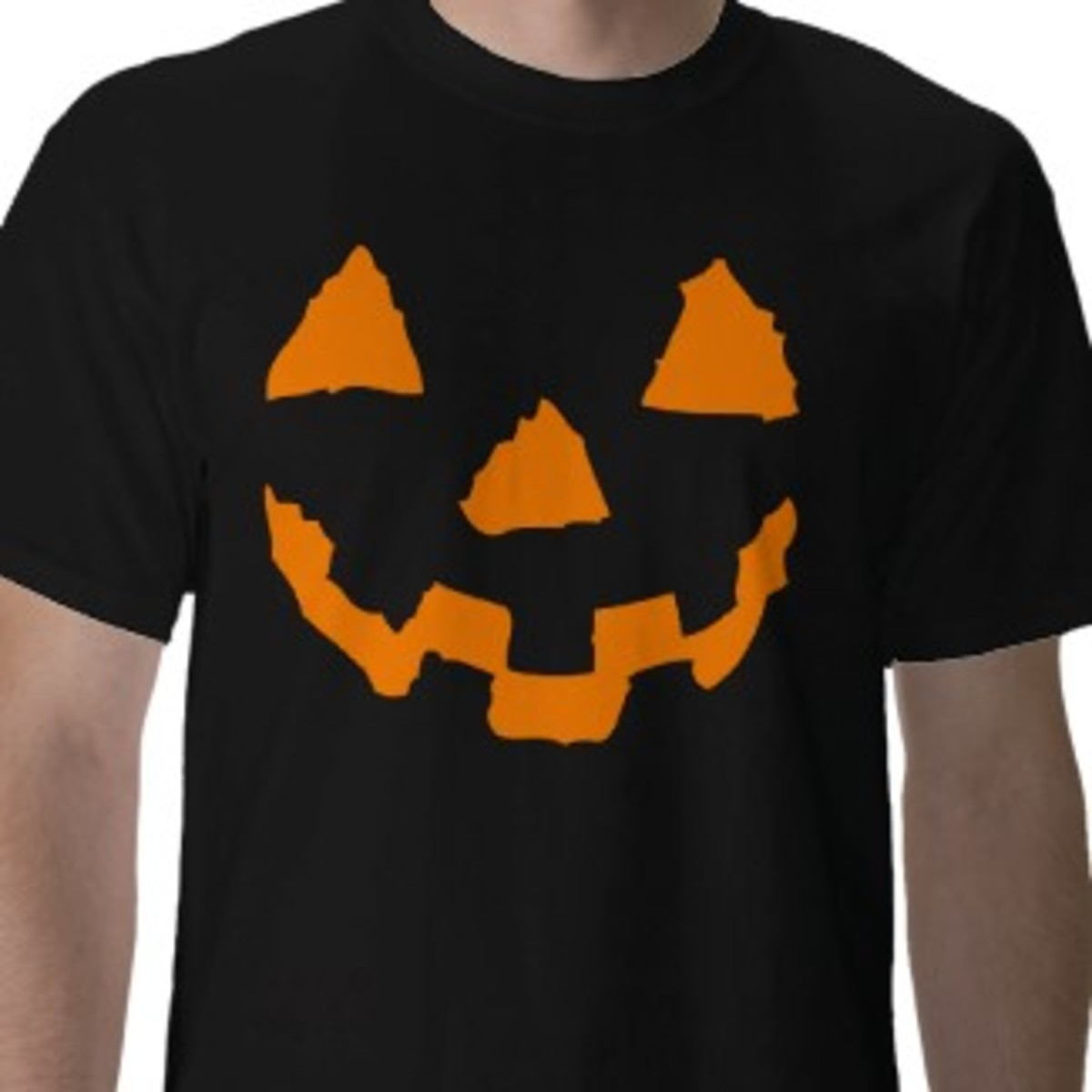 Classic orange pumpkin face Halloween tee for guys created by SPTees on Zazzle