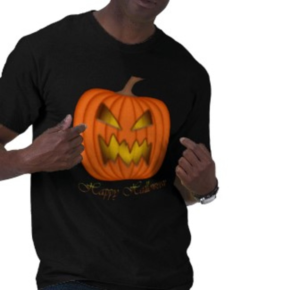 Men's pumpkin Happy Halloween orange and black shirt created by PulseDragon on Zazzle