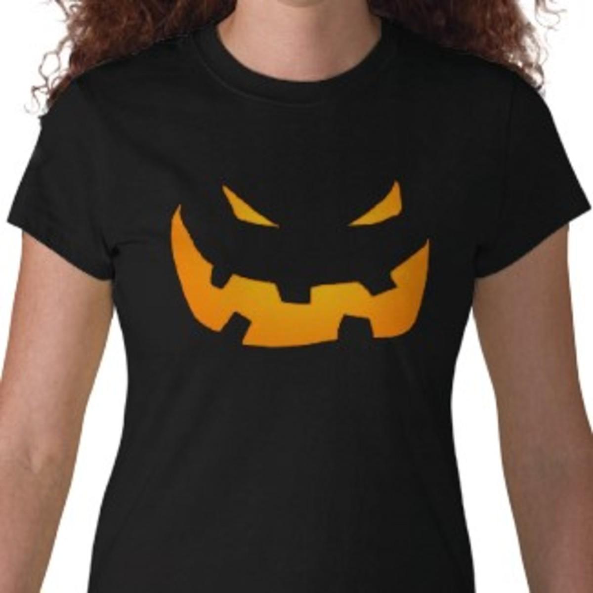 Black pumpkin jack o' lantern shirt created by Nightmareartist on Zazzle