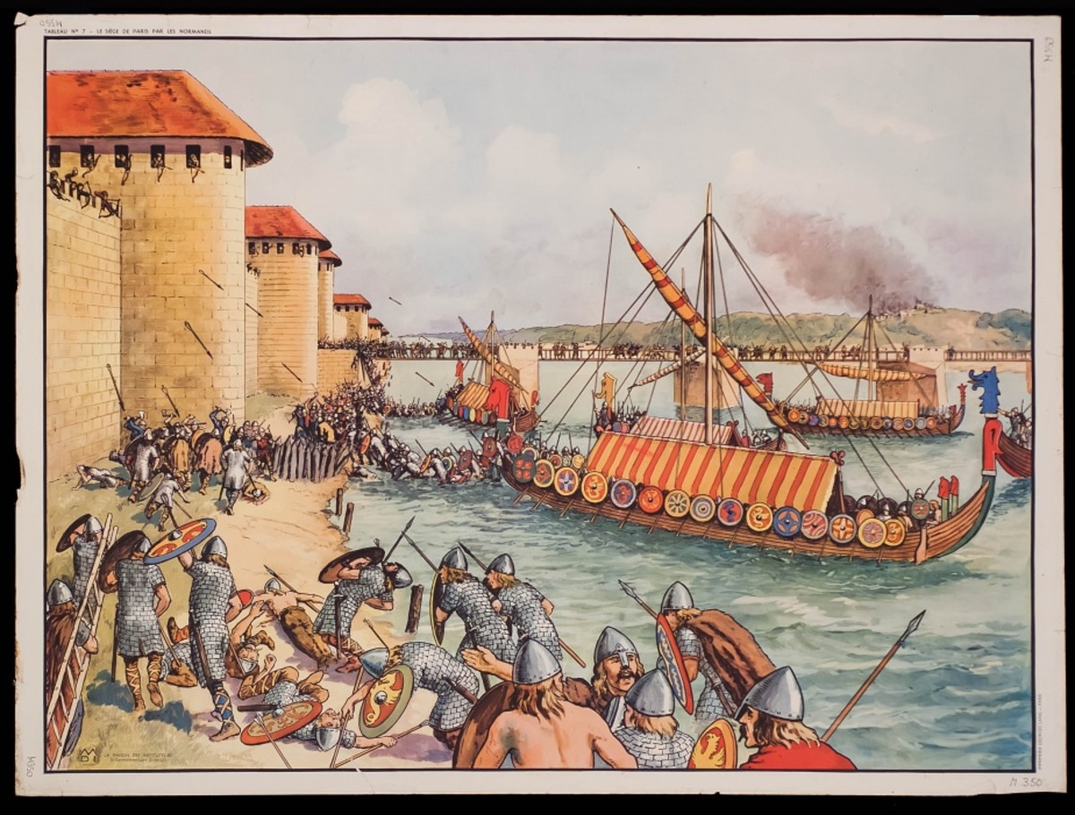 An artist's fanciful impression of Vikings laying siege to Paris - nearest ship 'dressed' overall as if on review. The striped deck cover would only have been draped over the lowered mast for a king or a jarl at an assembly of his fleet on view