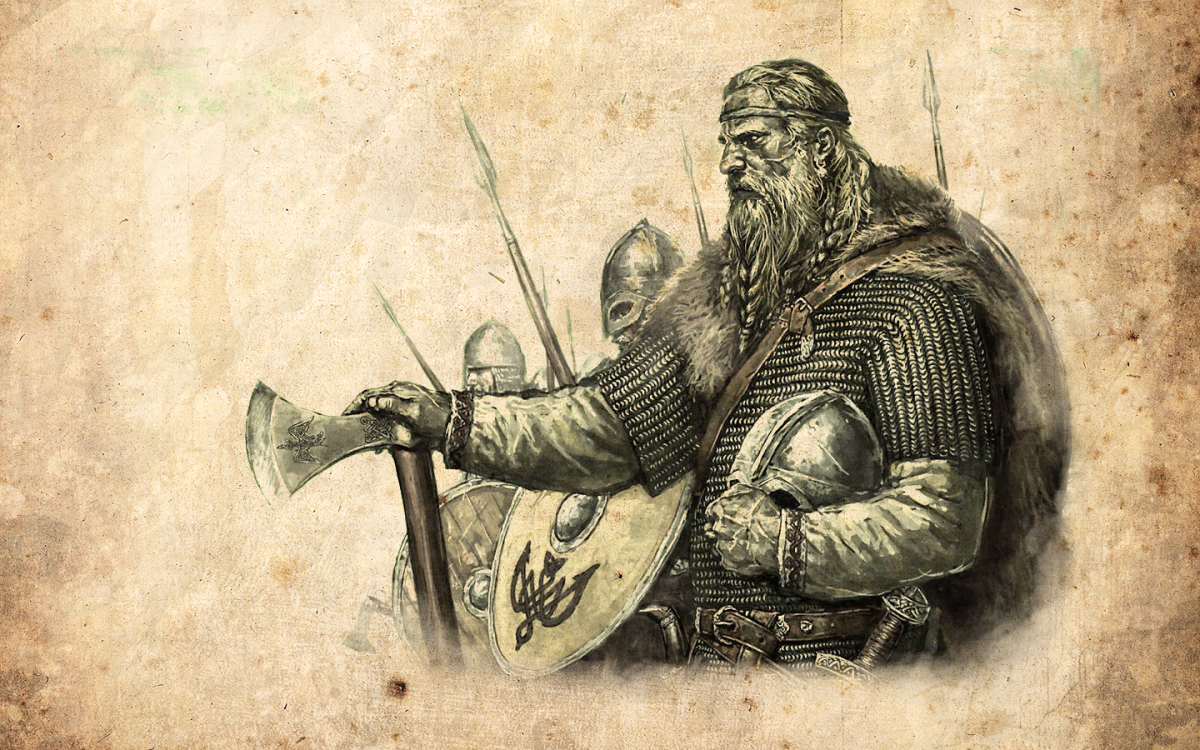 A popular image of Ragnar Lothbrok - 'Leather Breeks' - nowadays Ladbroke - about to let his men loose like wolves on the rampage