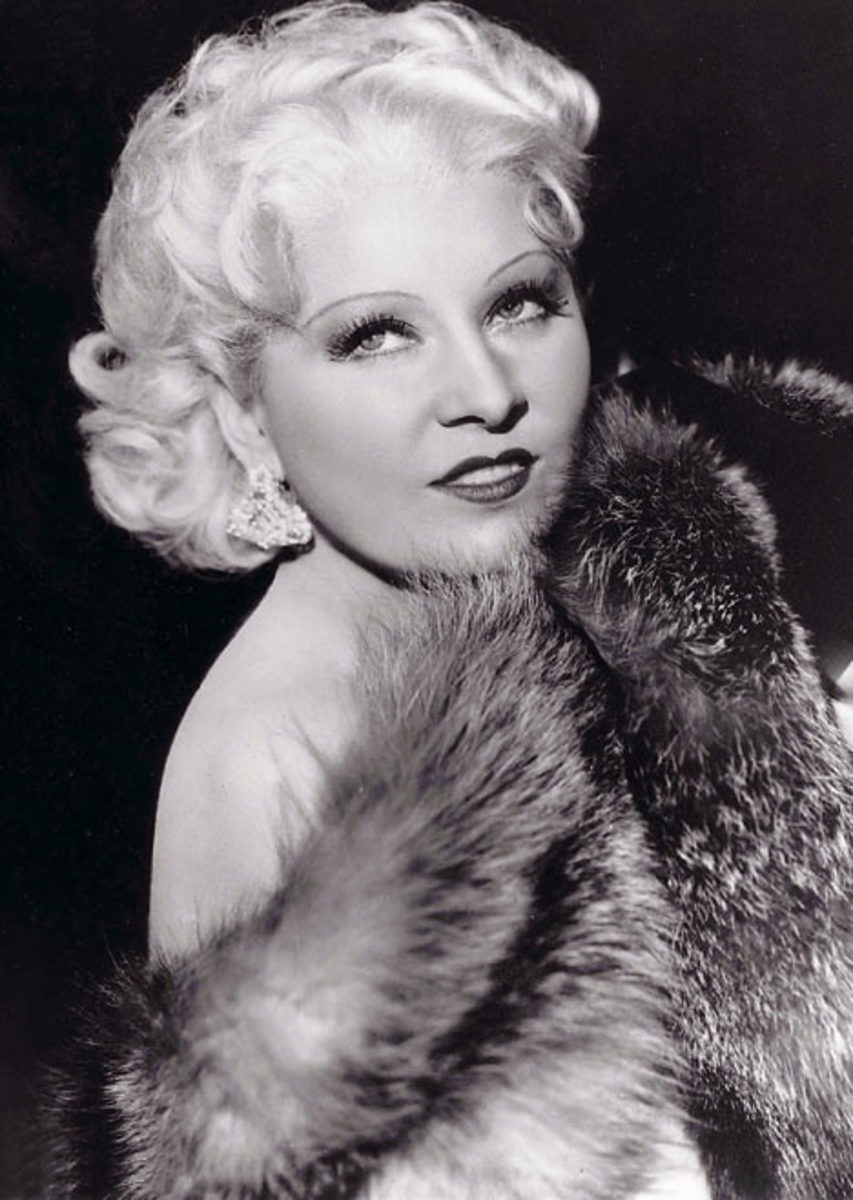 Mae West wearing curly medium length bob hair style