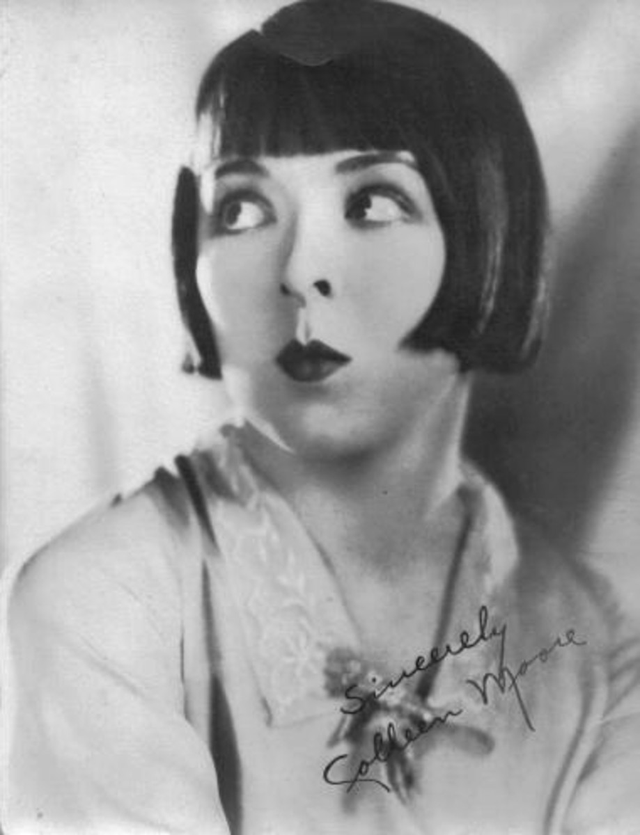 Colleen Moore, 1920 silent film star, wearing the original straight short bob hair style