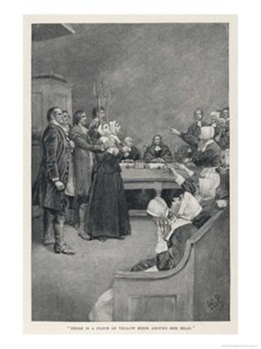 Witch Trial in Massachusetts - The accusing girls point at the victim.