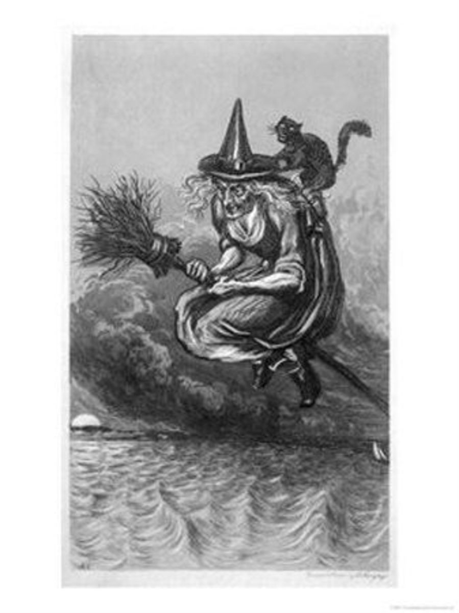 Witch flies to the Sabbat with her cat on her broomstick. Armytage