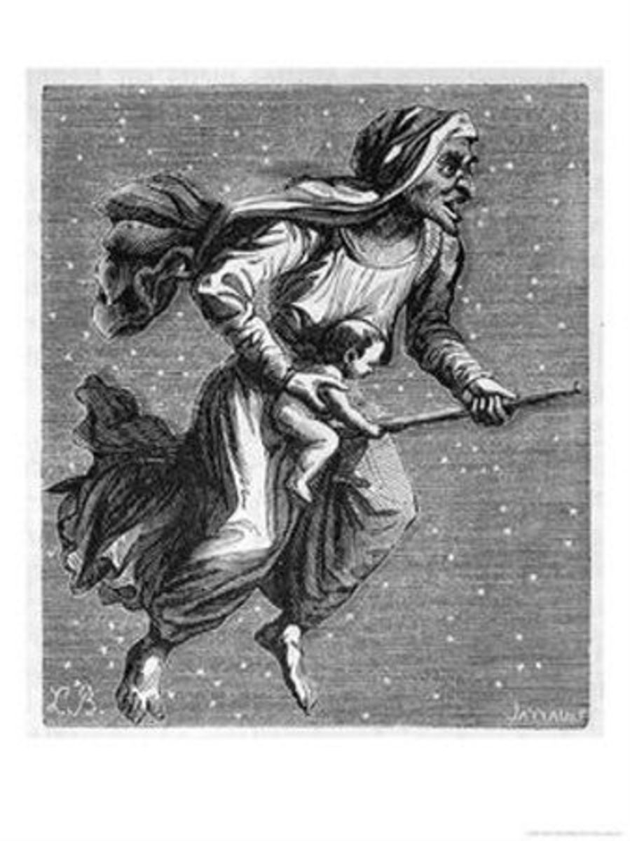 Witch rides through the starlit sky on her broomstick carrying a baby she has borrowed from its mum. DePlancy