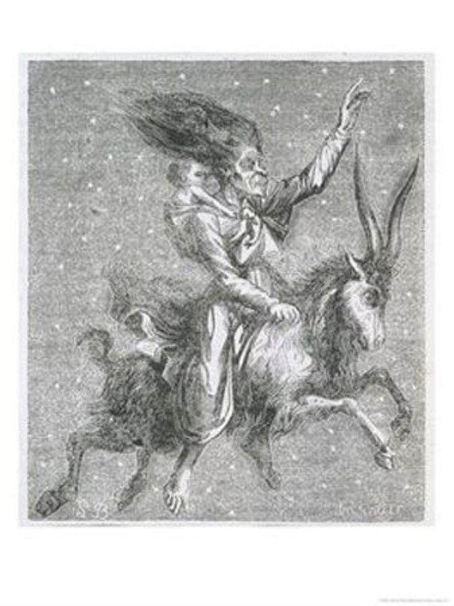Witch rides through the starlit sky on her goat carrying a baby she has borrowed from its mum. DePlancy