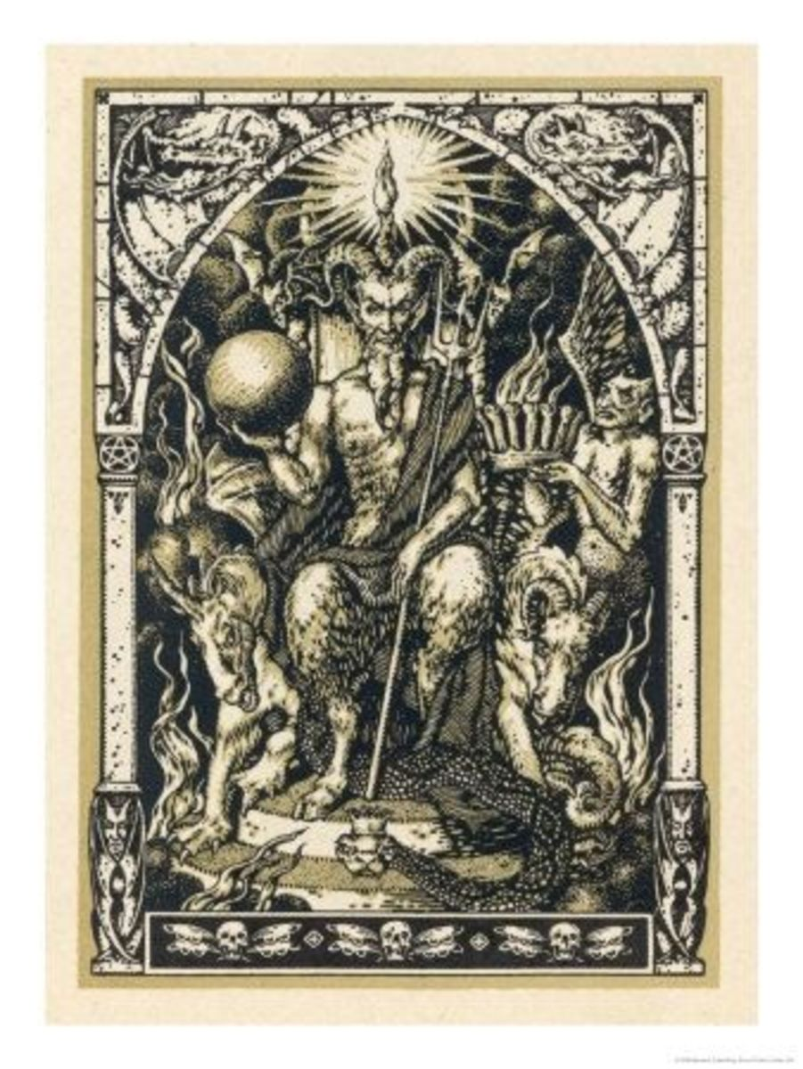 Satan presides at the Sabbat attended by demons in human or animal shapes.