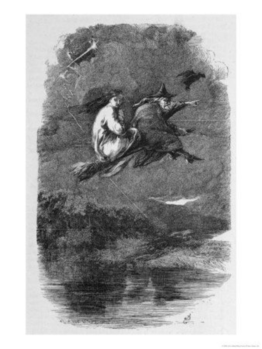 The Lancashire witches - Mother Chattox, noted local witch rides to Pendle Hill. John Gilbert