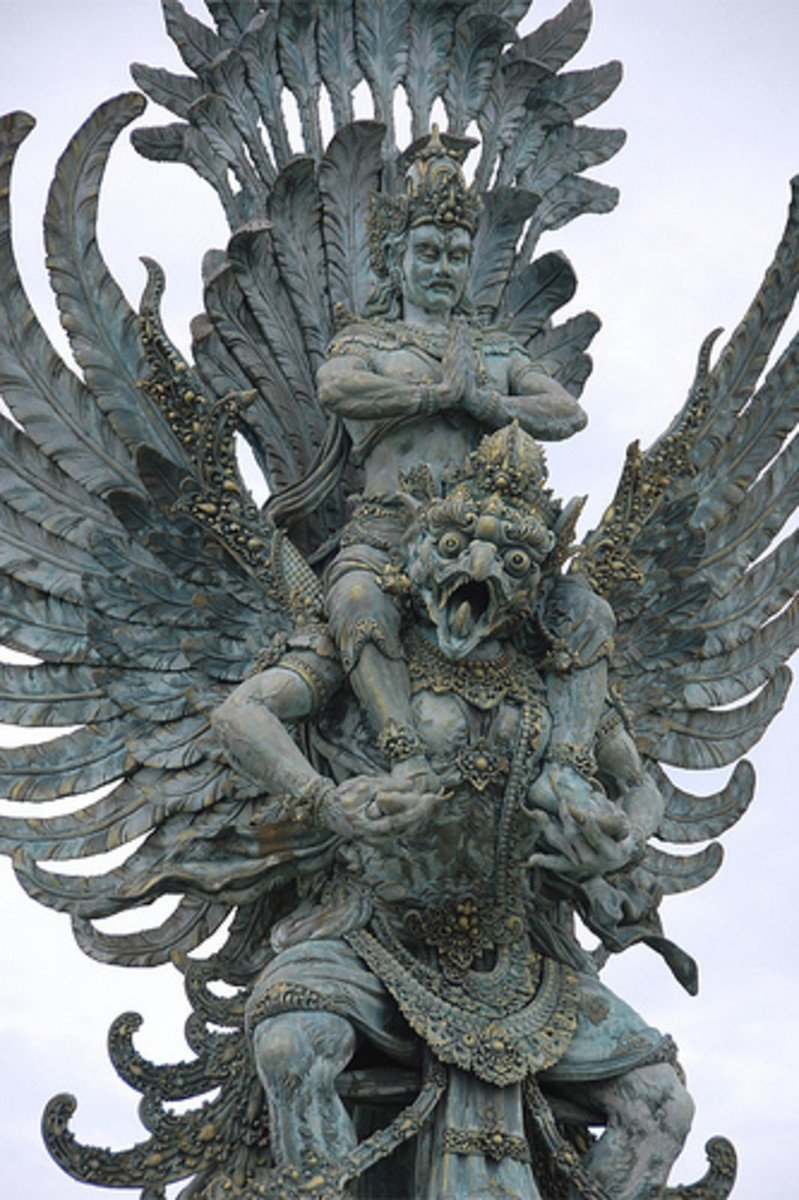 Vishnu with mount Garuda