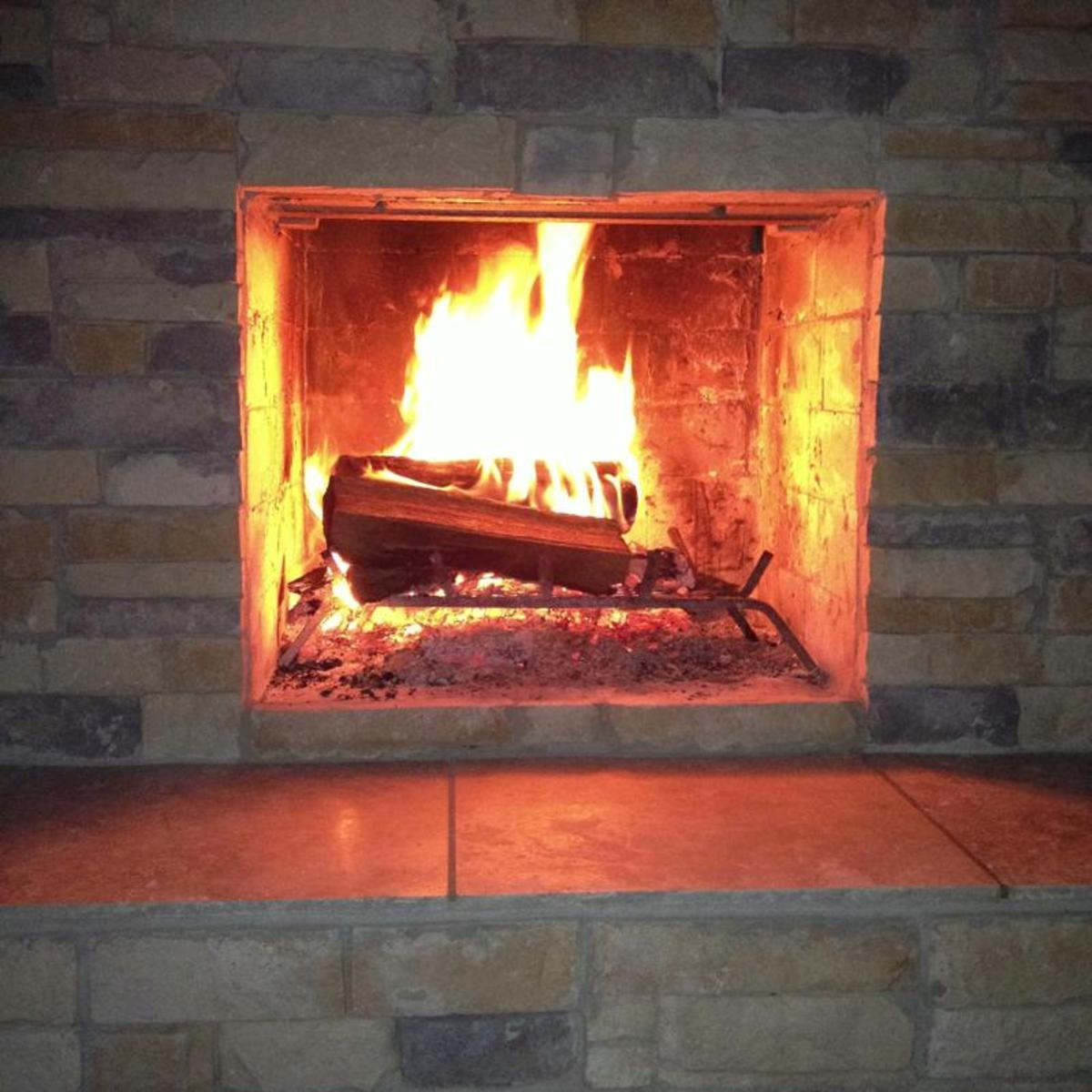Wood burning fireplace; great looking flame.