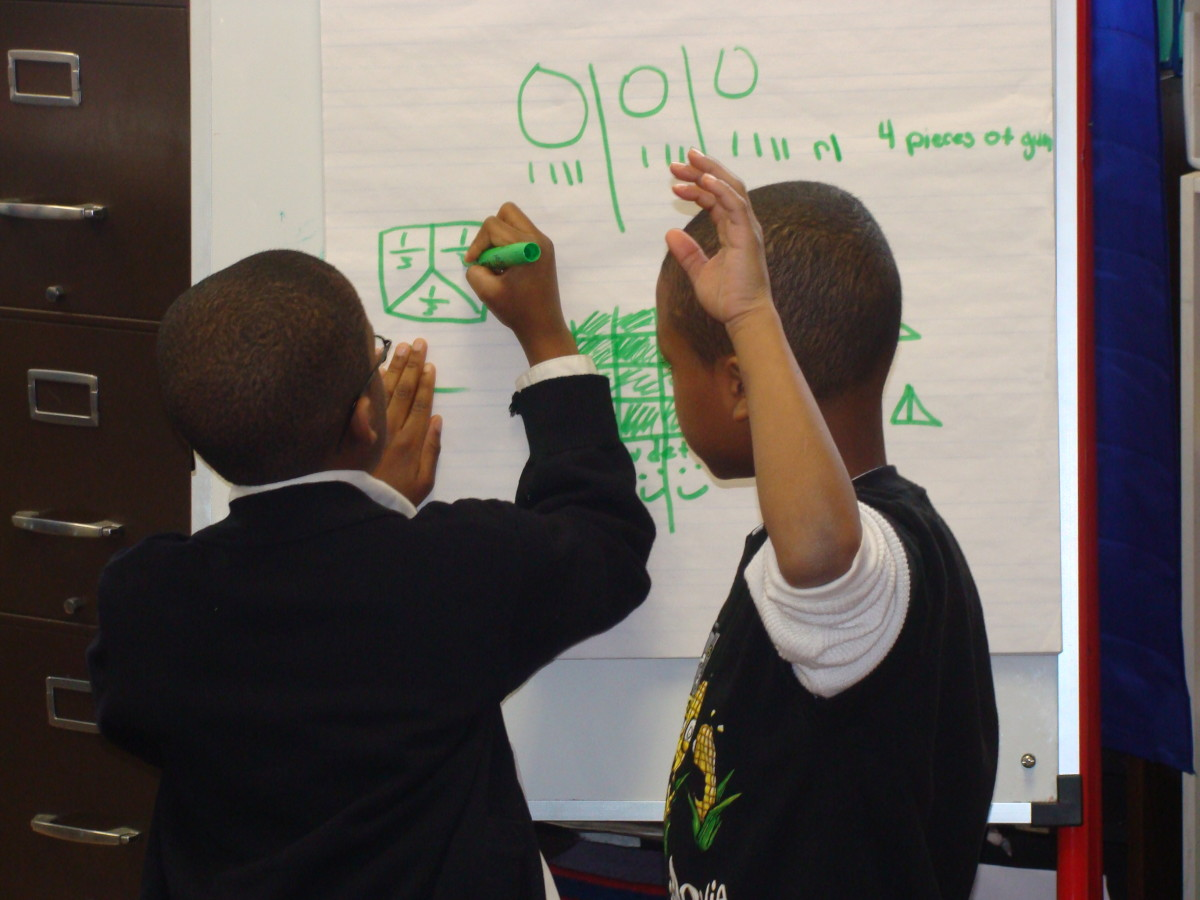 Students work together to gain a deeper understanding of math concepts.