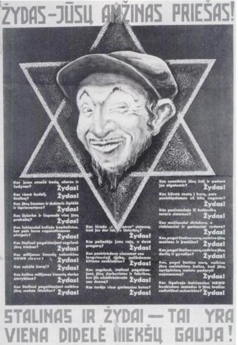 Nazi Propaganda  1941 Lithuanian 'Jews are your eternal enemies! Stalin and Jews are the gang of criminals!'