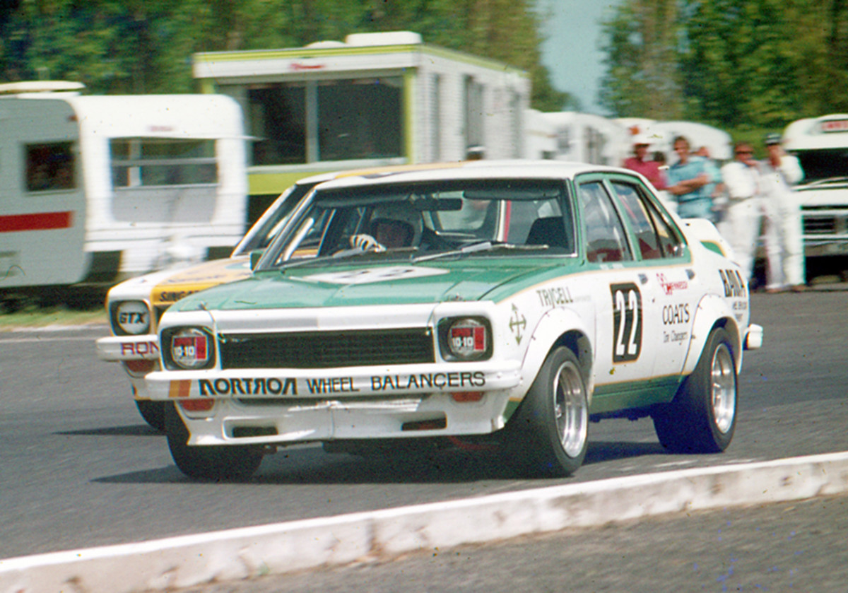 Early model Torana racing around Sandown in 1975