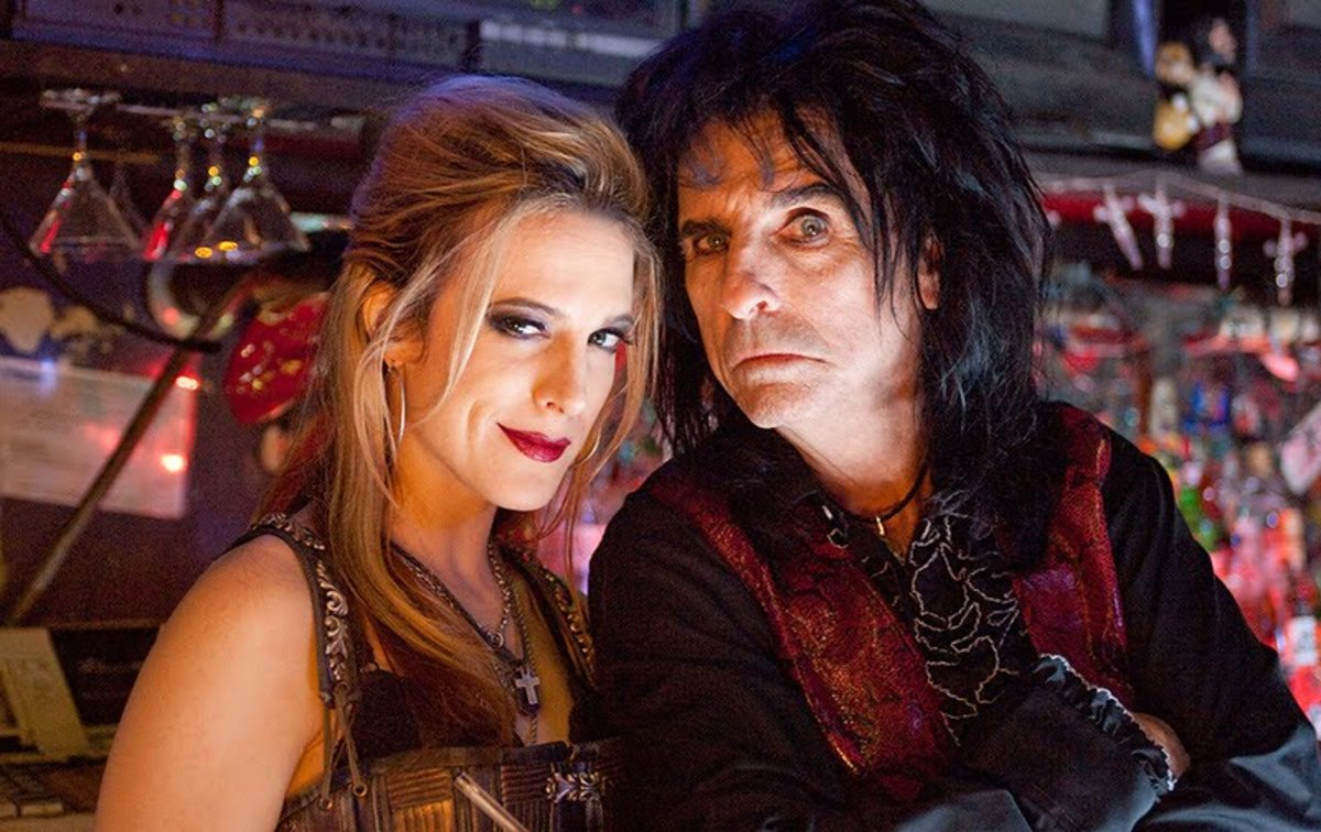 Alice Cooper with his daughter Calico Cooper on the set of Suck.