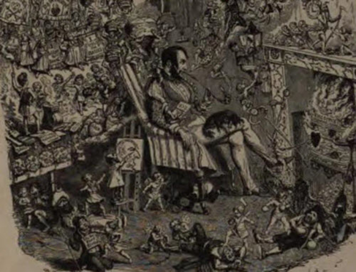 In this drawing, Cruikshank is sleeping while the products of his imagination romp through his study. But perhaps he too is a product of the imagination, as suggested by the fact that some his characters are drawing the artist.