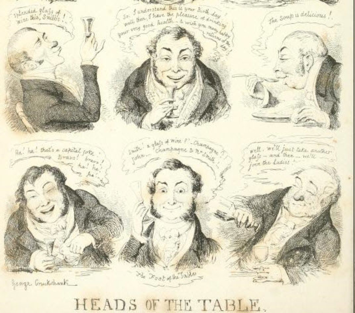 This is an example of the caricatures that George Cruikshank often produced for various magazines.