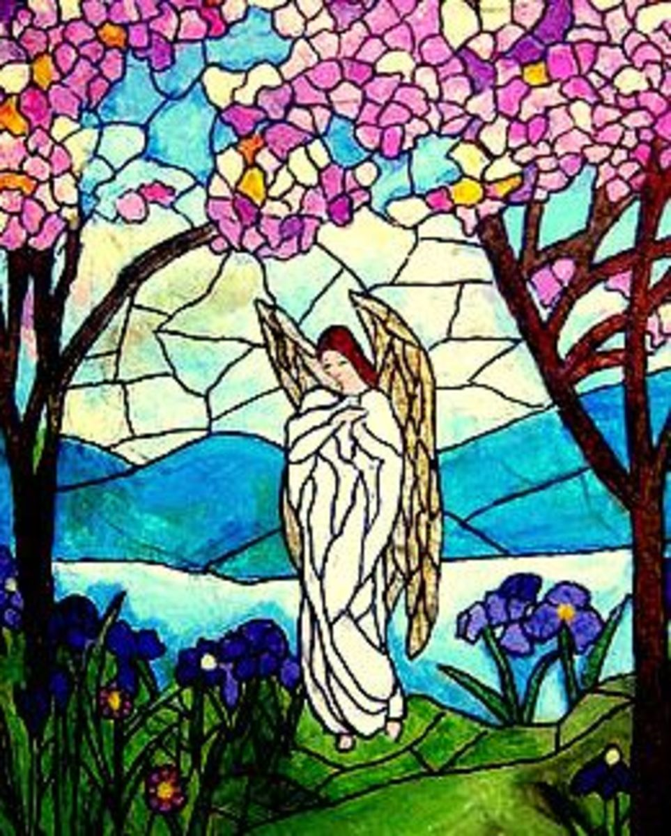 Hand painted stained glass themed angel garden rock by nancymaggielee
