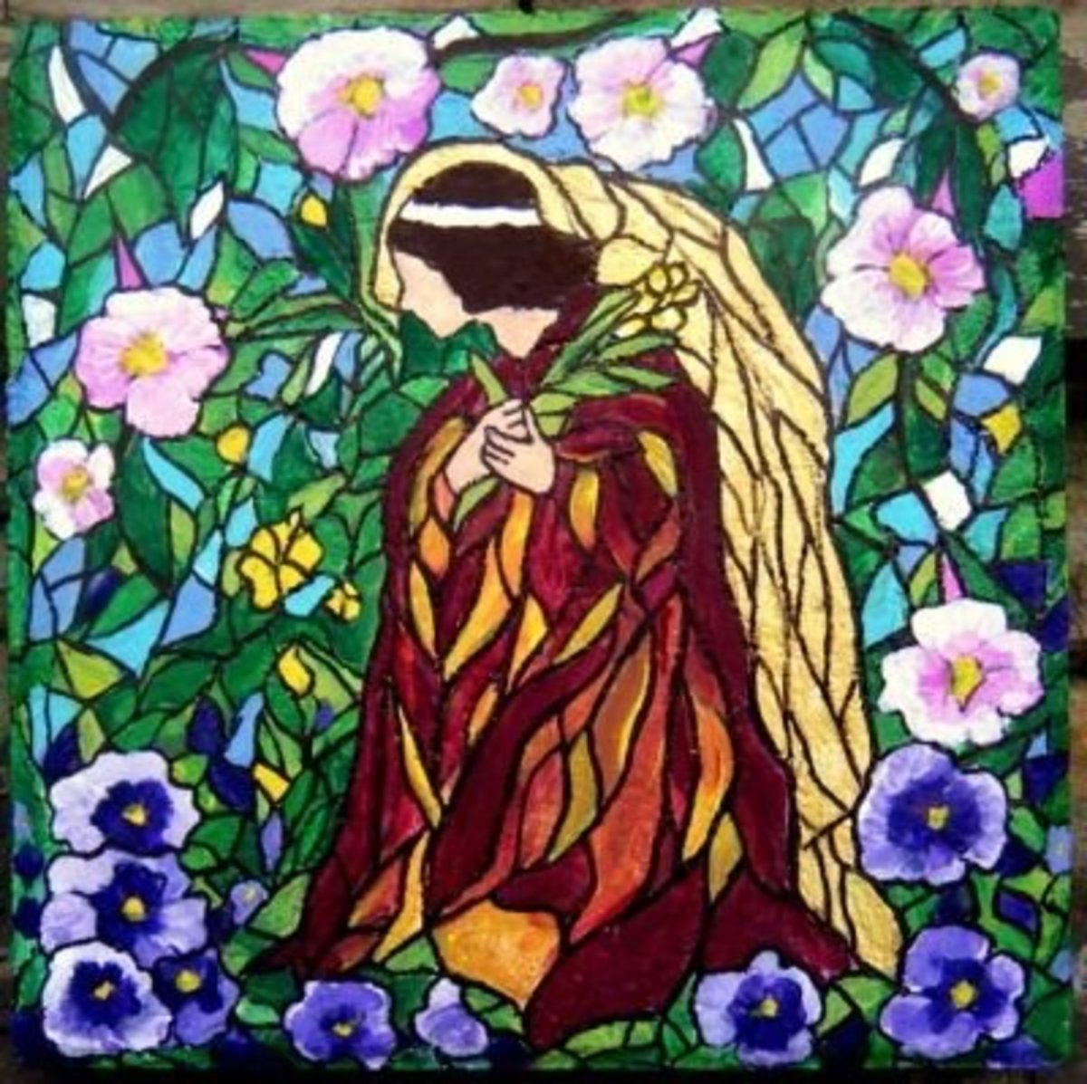 Stained Glass Theme Angel Stepping Stone - by Maggie Lee Flower Creations