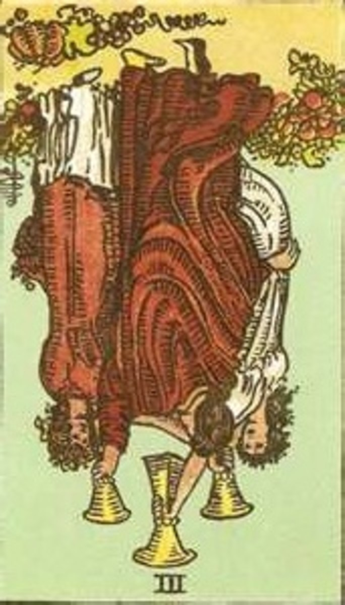 The Three of Cups Reversed. Find balance and moderation in your life, otherwise you're bound to find yourself dealing with the unsavory consequences of your actions.