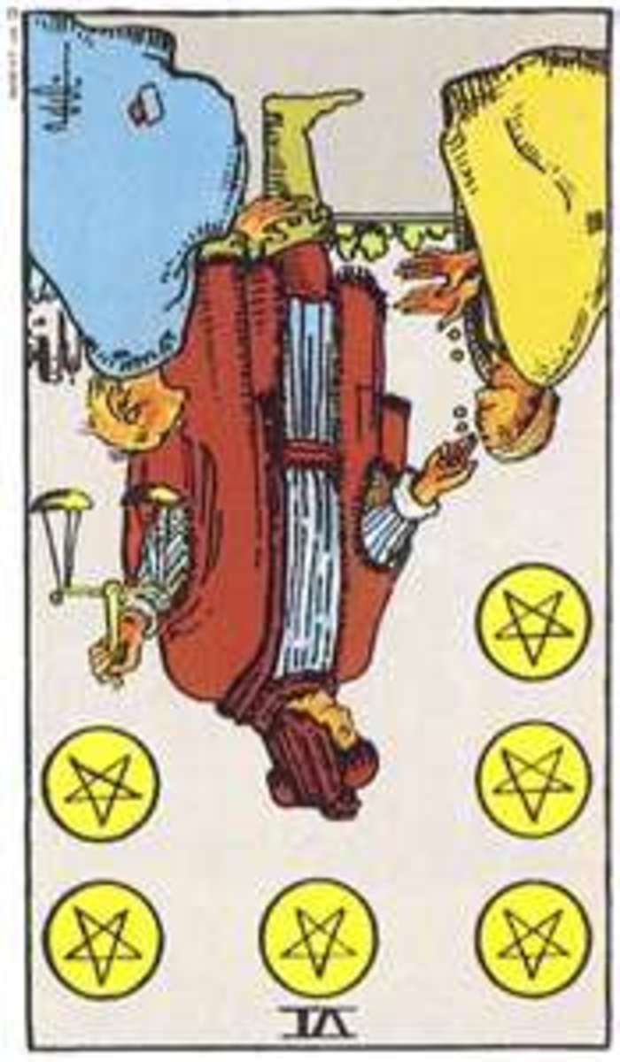 The Six of Pentacles Reversed. Focus on what you have in your life, not what you don't have.