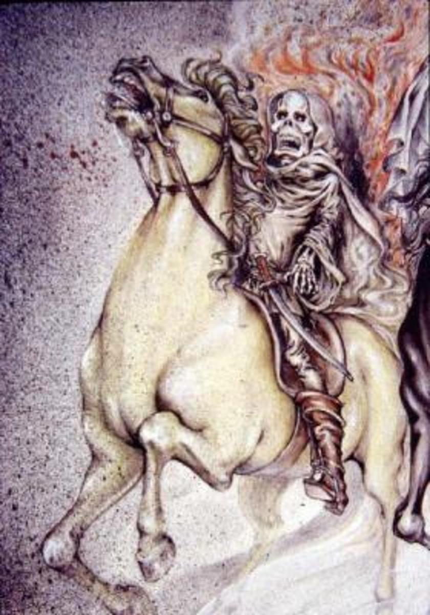 Fourth Seal - Antichrist on pale horse - Death