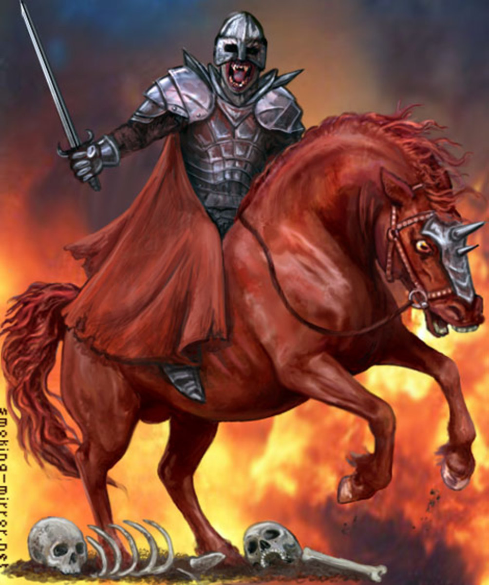 Second Seal - Antichrist on red horse - War