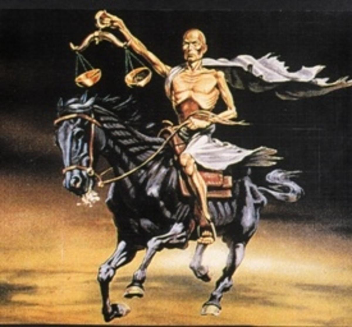 Third seal - Antichrist on black horse - Famine