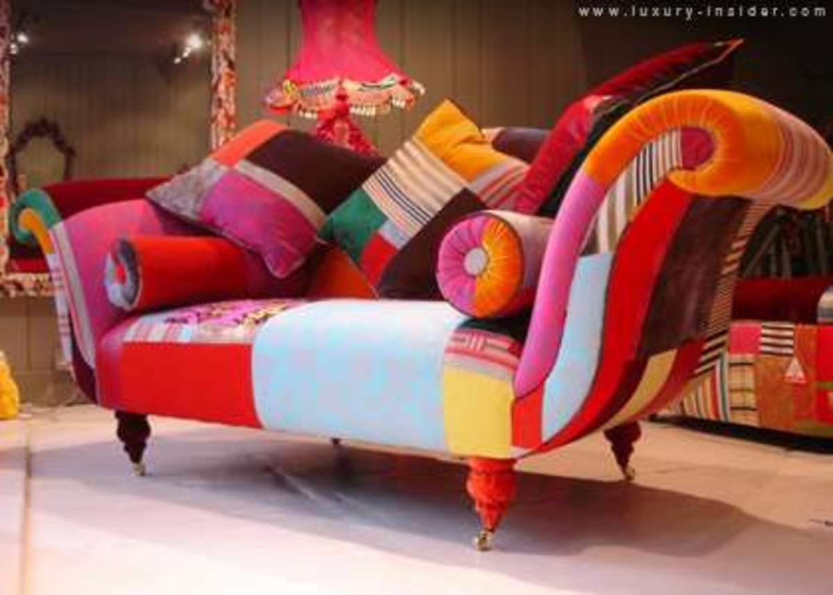 One of Kelly Swallow's favorite creations of mine:) love the cheerful bright colors in this couch.