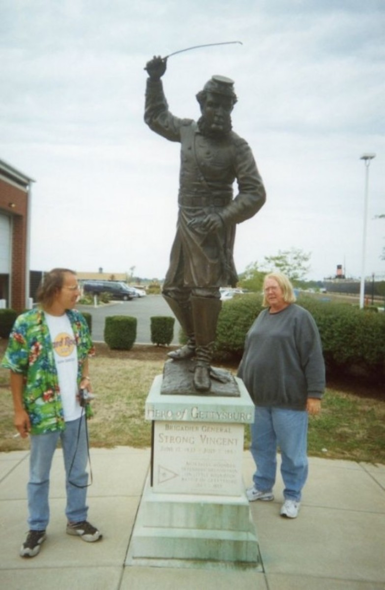The statue was erected at the library in Erie. On another trip with Jim and Patty, we toured Gettysburg and saw where Col. Vincent was injured in the war. We've had some great adventures with Jim and Patty!