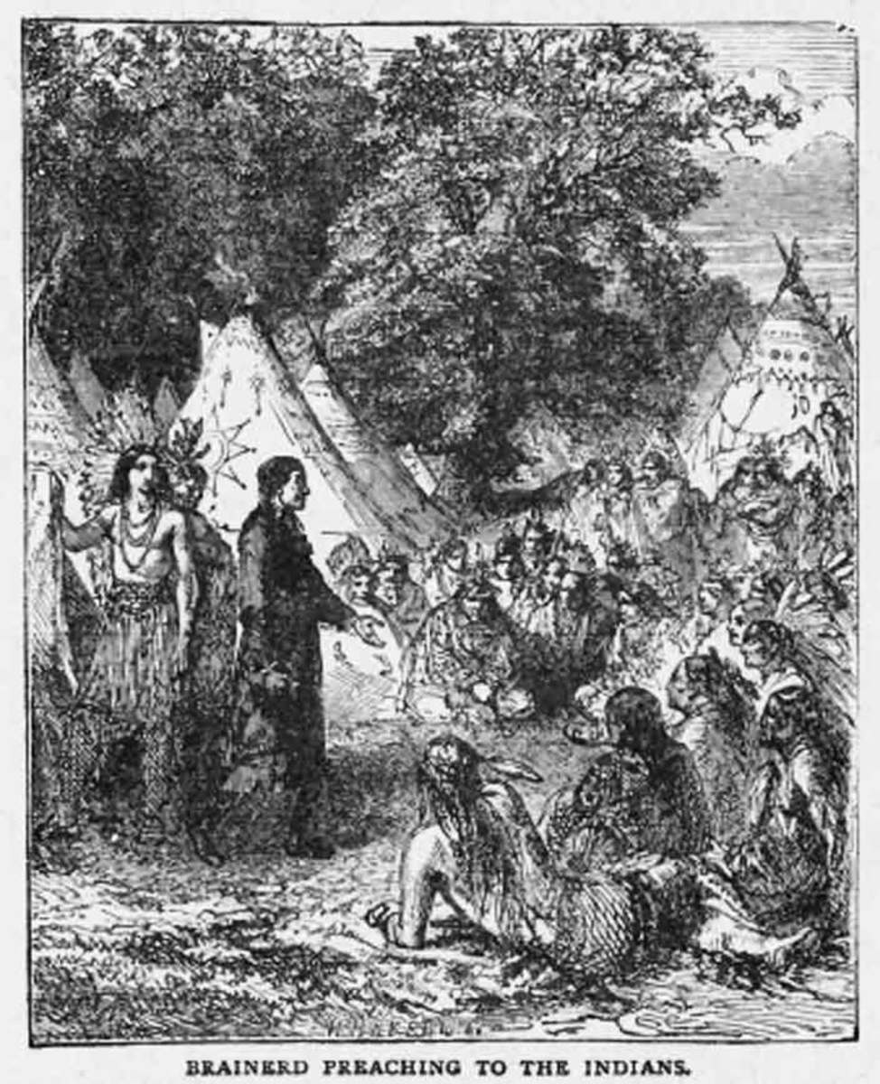 Brainerd preaching in the open-air to Native Americans.