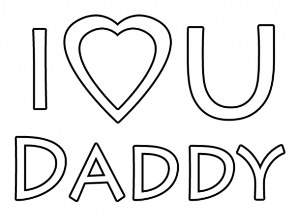 I Love You Daddy Printable Coloring Image
