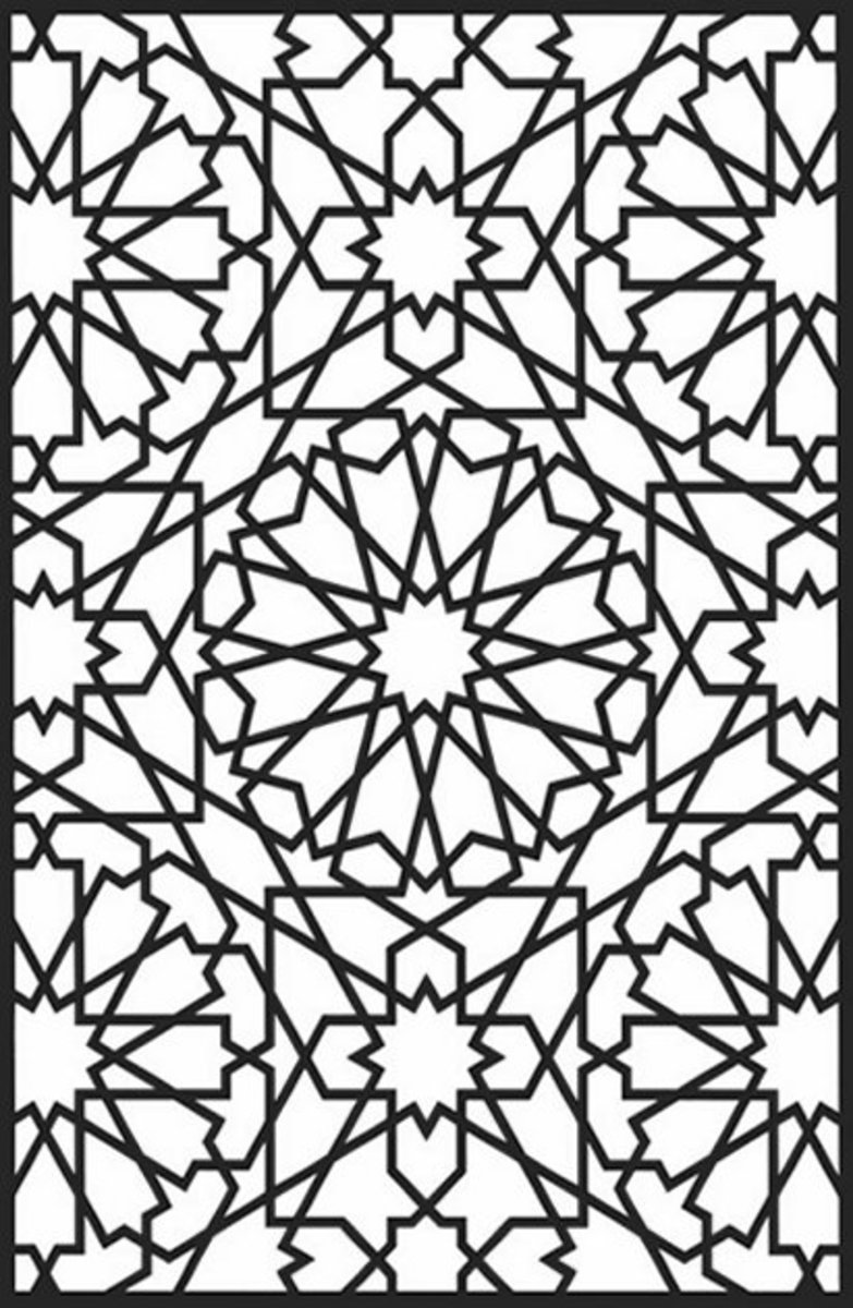Geometric Design Coloring Pages and Stained Glass Colouring Pictures to Print - star burst