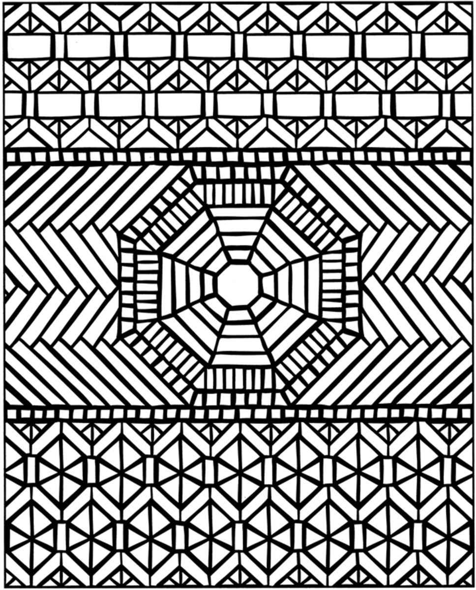 Geometric Design Coloring Pages and Stained Glass Colouring Pictures to Print - Sunset at Sea