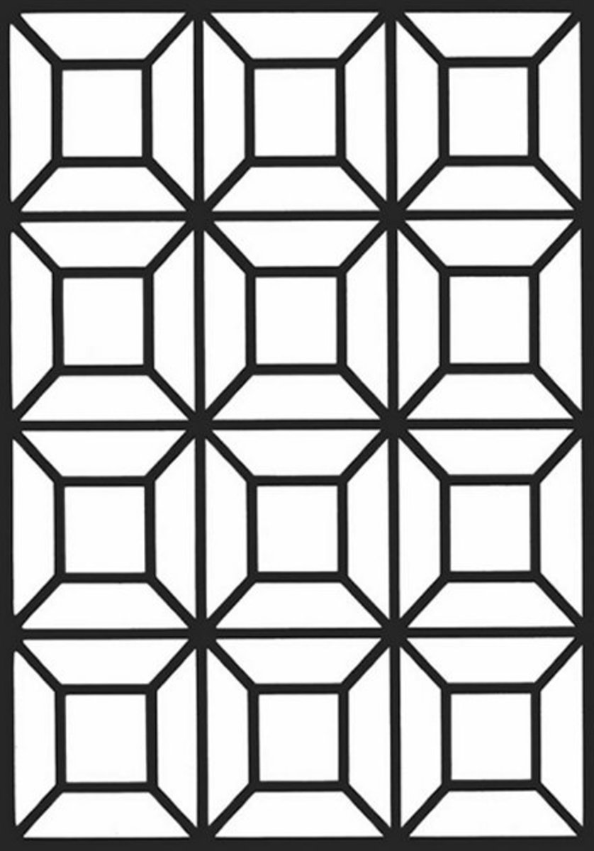 Geometric Design Coloring Pages and Stained Glass Colouring Pictures to Print - 3D Beveled