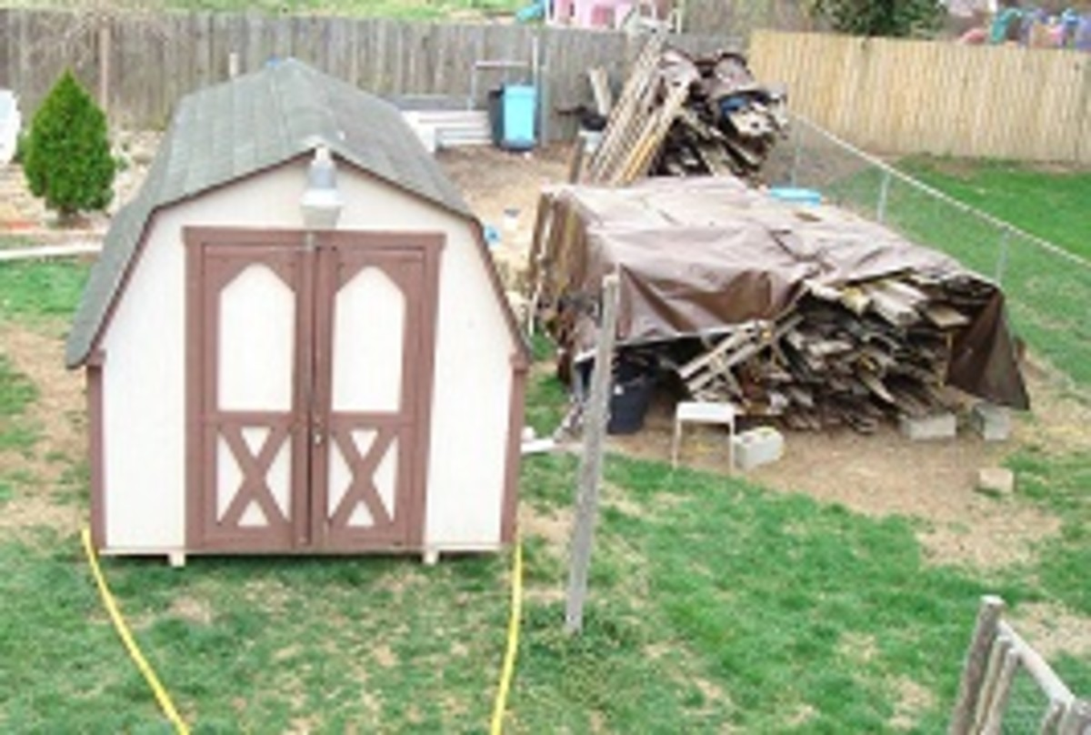 Notice the small pole in front of the shed on the right side