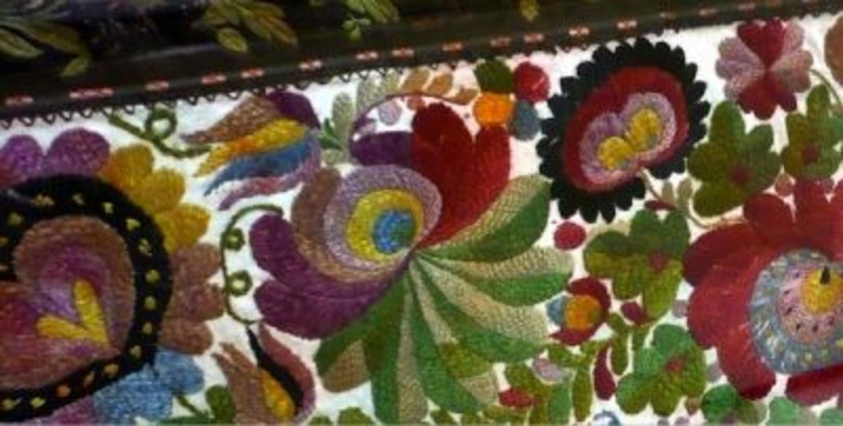 Compare the painting and embroidery motifs of Hungarian Design, they are very similar.