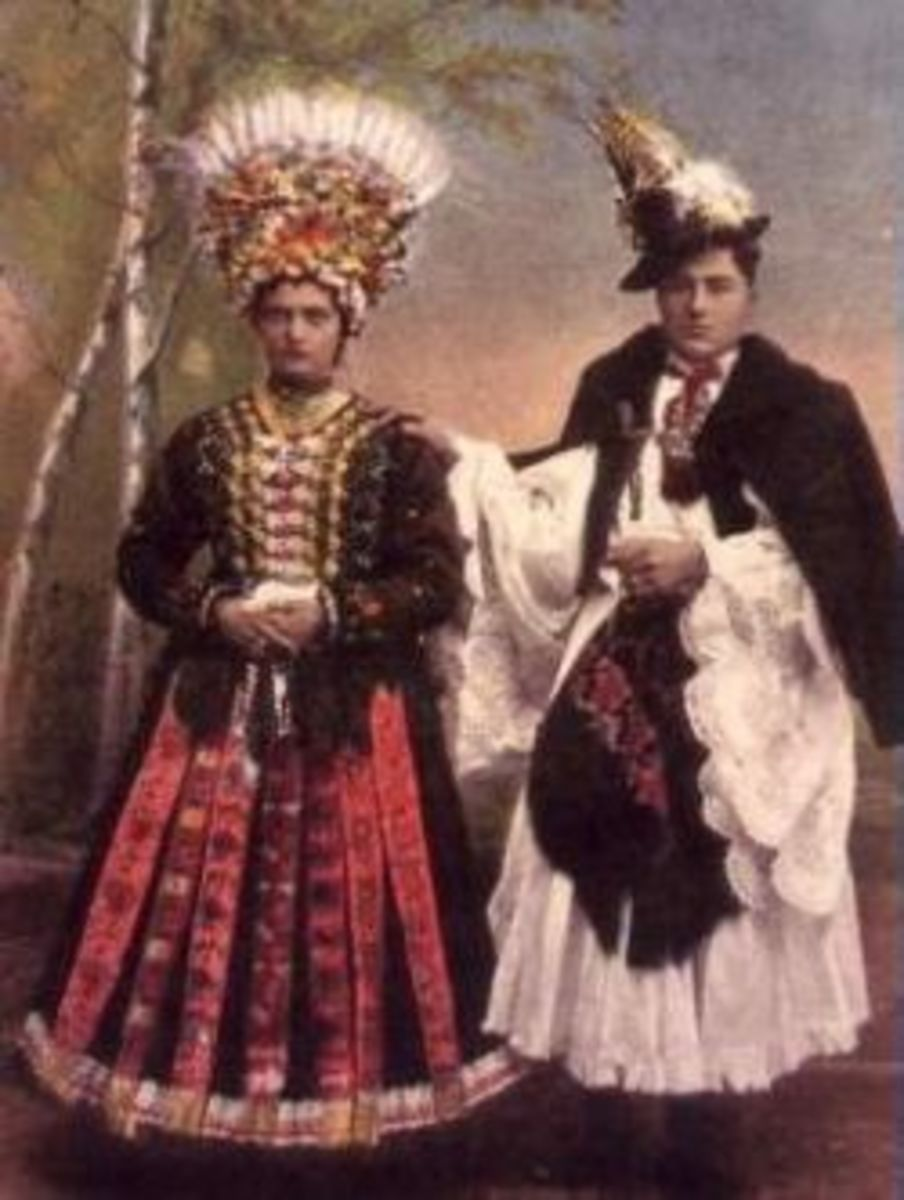Matyo folk costume with colorful embroidery. Decorated clothing as well as painted surfaces in their homes was common in the peasant villages; each had a distinctive style.