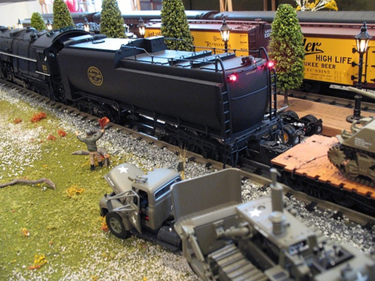 The U.S. Army rolls along on this model train layout.