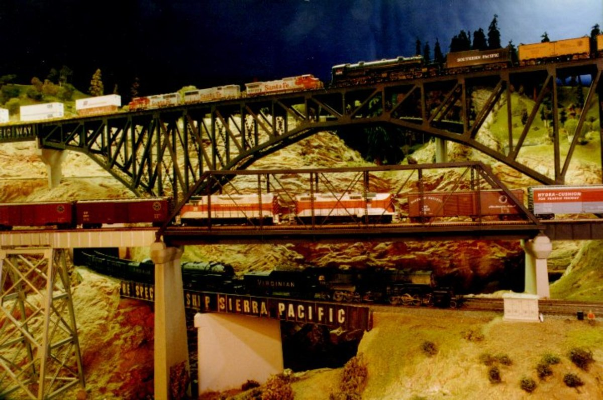 Three bridges on the Sierra Pacific Lines layout.