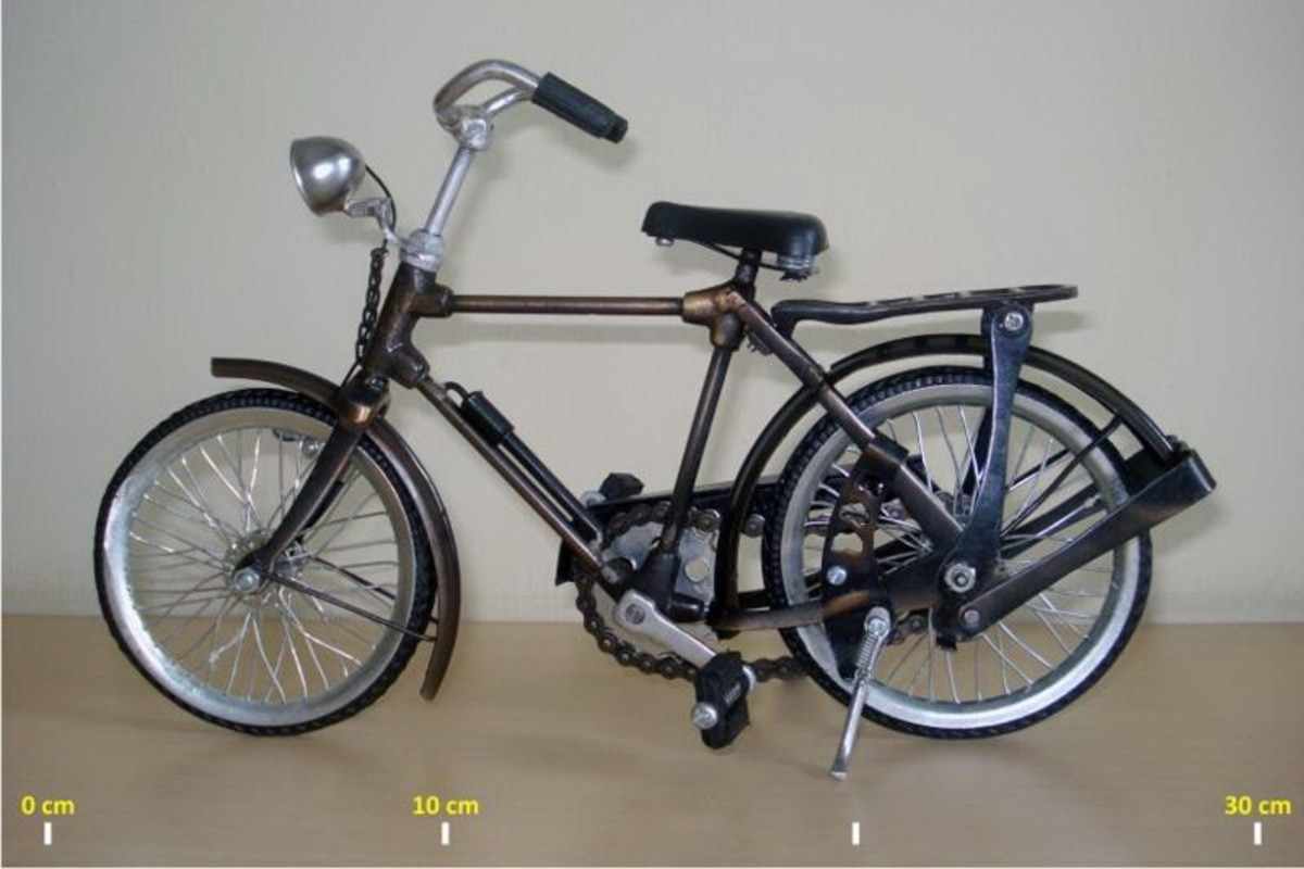You can look the comparative size of Yogyakarta antique bicycle miniature.