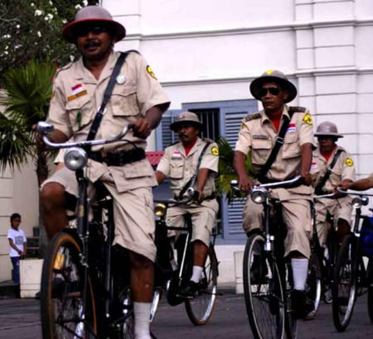 Yogya old bicycle club with their uniform. Indonesia people loves old bicycle