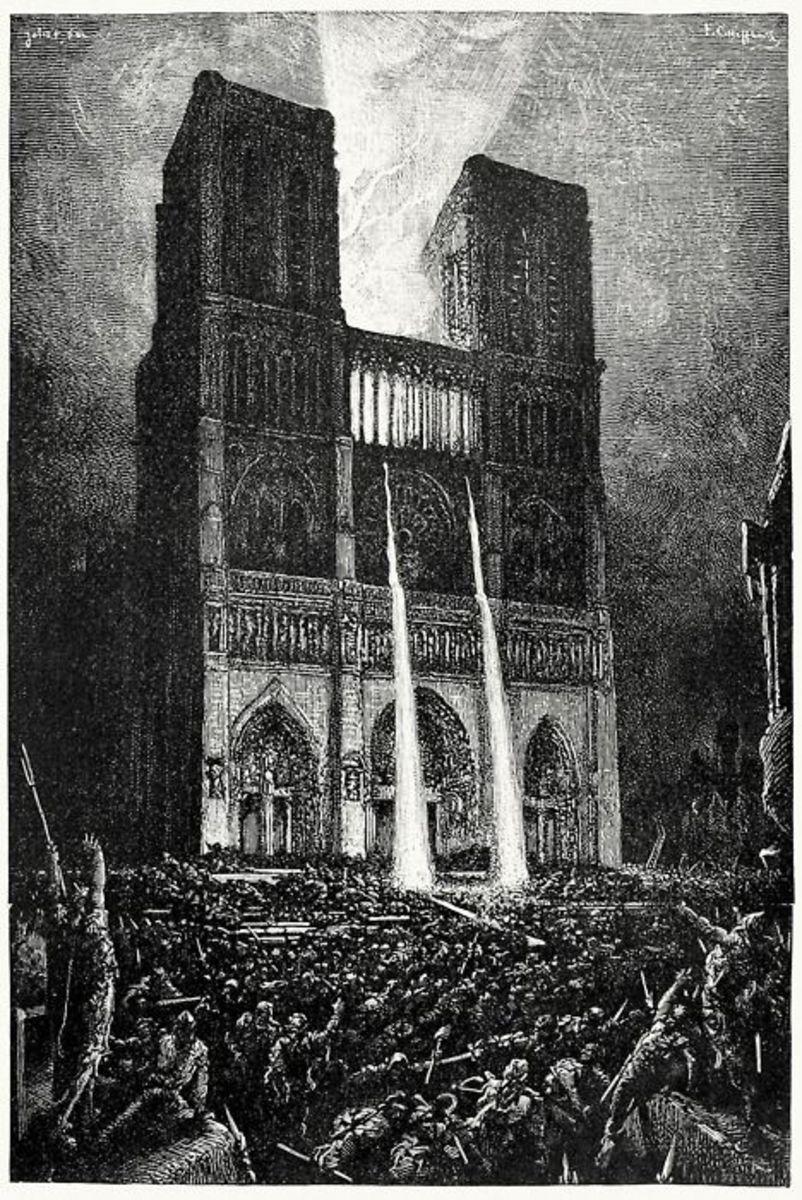 An Ilusrtation of Molten lead pouring out from Notre Dame de Paris