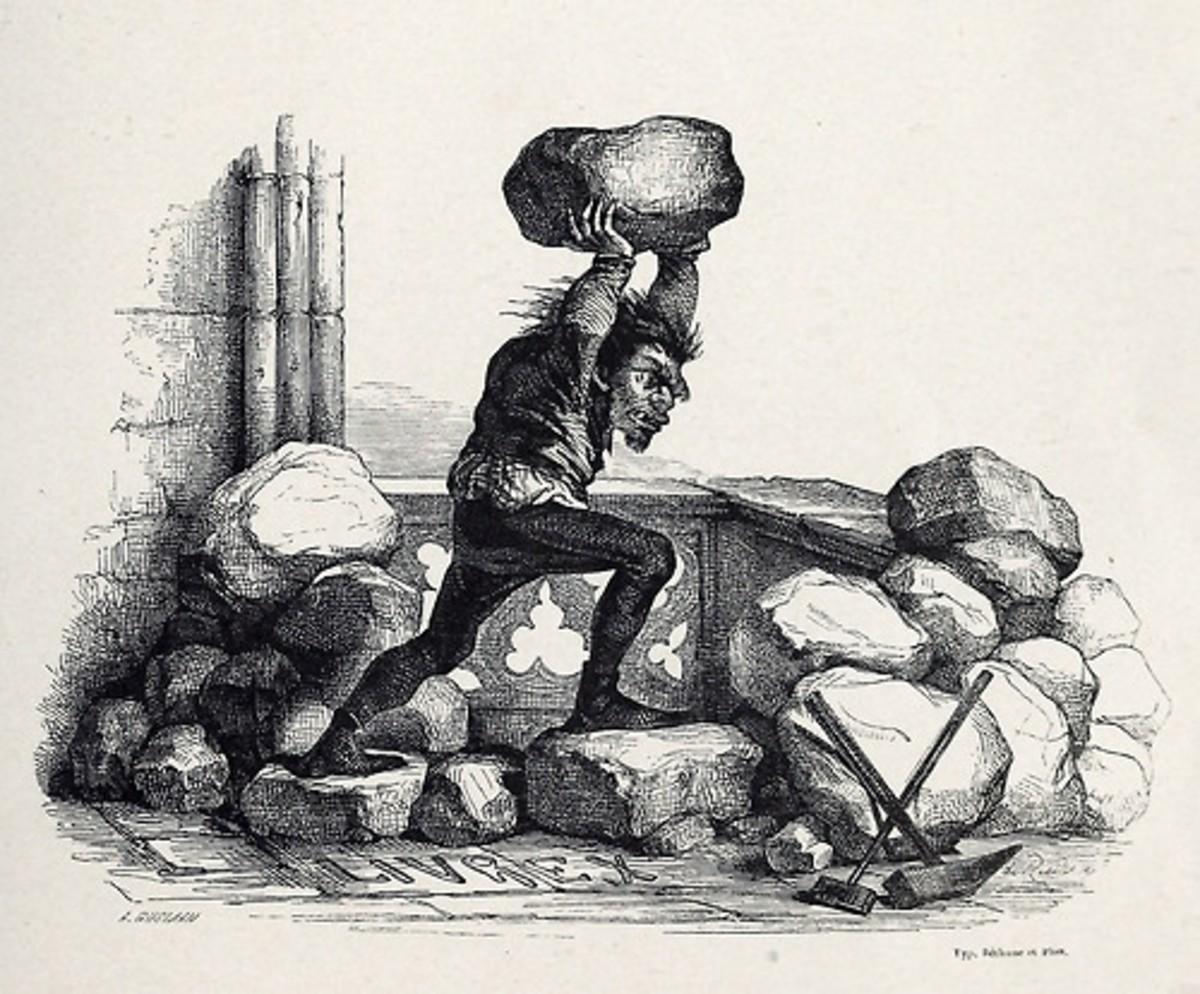 Quasimodo defending Notre Dame L.H de Rudder 1844